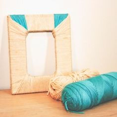 An easy tutorial shows how to add some texture to a plain picture frame using Modge Podge and yarn!