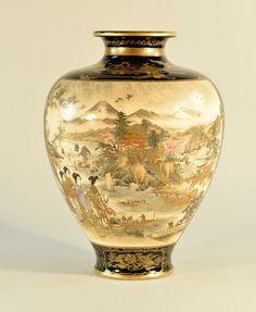 Japanese Satsuma Vase with Tiger Scene - Hattori Rong San