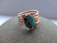 African turquoise jasper and copper wire wrap ring