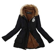 8ba94290ba20 Winter Coat, Shybuy Women Warm Long Coat Faux Fur Collar Hooded Parka  Outwear with Big Pocket at Amazon Women's Coats Shop