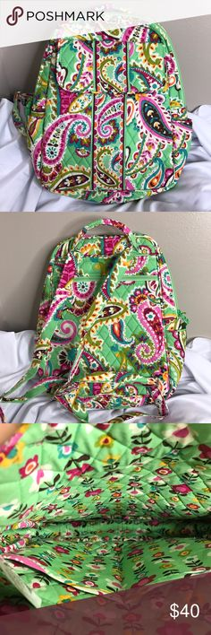 Vera Bradley Tutti Frutti Backpack Small Bag NWT It has adjustable straps and a rolled handle. It also has a large front pocket with a magnetic flap and two exterior slide pockets. The back exterior has a large zippered pocket.The interior has two large slip-pockets. This Backpack is good for shopping, not large enough for school. Vera Bradley Bags Backpacks