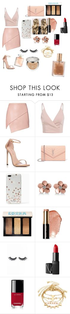 """""""Peach date look"""" by emmakat007 ❤ liked on Polyvore featuring Michelle Mason, Stuart Weitzman, Yves Saint Laurent, Kate Spade, Allurez, Bobbi Brown Cosmetics, Violet Voss, NARS Cosmetics, Chanel and Christian Dior"""