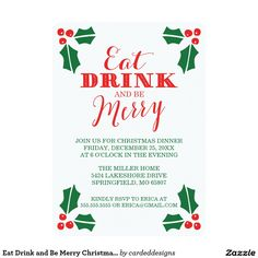 Eat Drink and Be Merry Christmas Dinner 5x7 Paper Invitation Card