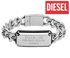 DIESEL - luxusný masívny pánsky náramok, dĺžka: 21cm Diesel, Bracelets, Silver, Jewelry, Fashion, Diesel Fuel, Moda, Jewlery, Jewerly