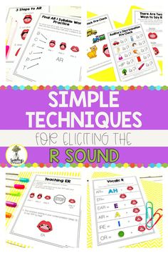 R sound got you down? Check out this blog post for some easy techniques for eliciting the R sound in your speech therapy sessions. Perfect for those articulation therapy strudents! Articulation Activities, Speech Therapy Activities, Therapy Games, Therapy Ideas, Speech Language Pathology, Speech And Language, Phonological Processes, Articulation Therapy, Kindergarten Readiness