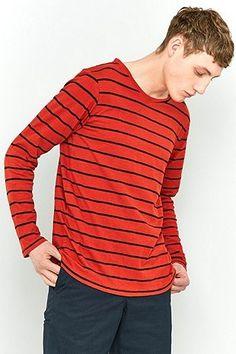 UOMens: Nudie Jeans Orvar Blood Orange Breton Stripe Long-Sleeve T-shirt #UOMens #UrbanOutfitters #UOEurope
