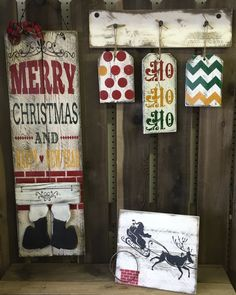 "Merry Christmas Holiday/Seasonal Wood Sign Decor Bundle » Handmade & Painted, Rustic Distressed ""Pallet"" Wood Signs"