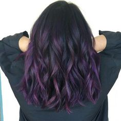 33 trendy ombre hair color ideas of 2019 - Hairstyles Trends Purple Hair Highlights, Purple Balayage, Brown Ombre Hair, Hair Color Purple, Cool Hair Color, Purple Hues, Brown To Purple Ombre, Curly Purple Hair, Violet Brown Hair