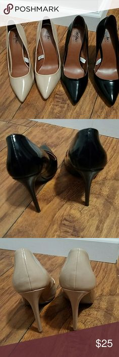 Two pairs of patent leather heels Gorgeous pairs. Worn for maybe two hours. Trying to clean out my closet. Make an offer. Note: I am usually a true 7...both pairs are a 7.5 because this style of shoe ran small for me. I don't have a wide foot. Please ask questions. Shoes Heels