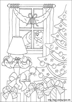 Santa peeking through the window - Christmas coloring