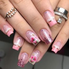 Cute Acrylic Nail Designs, Pink Nail Designs, Best Acrylic Nails, Trendy Nails, Cute Nails, Pink Toe Nails, Tribal Nails, Flower Nail Art, Elegant Nails