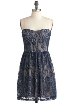 Blue Lace Strapless Cocktail Dress for a Wedding Evening Wedding Attire, Evening Dresses For Weddings, Strapless Cocktail Dresses, Strapless Dress Formal, Blue Lace, Navy Lace, Bridesmaid Dresses, Navy Bridesmaids, Dresses Dresses