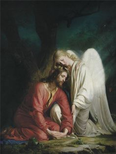 My Lord and Savior Christ Jesus! ❤❤❤❤Jesus In the Garden being comforted by an angel. Catholic Art, Religious Art, Agony In The Garden, I Believe In Angels, Biblical Art, Angels Among Us, Jesus Pictures, Guardian Angels, Jesus Is Lord