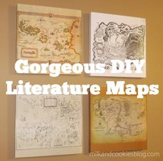 Use this techique with any type of map, like hometowns, travells, etc.... Gorgeous DIY Literature Maps: The Chronicles of Narnia, The Wizard of Oz, Harry Potter, and Lord of the Rings/Hobbit