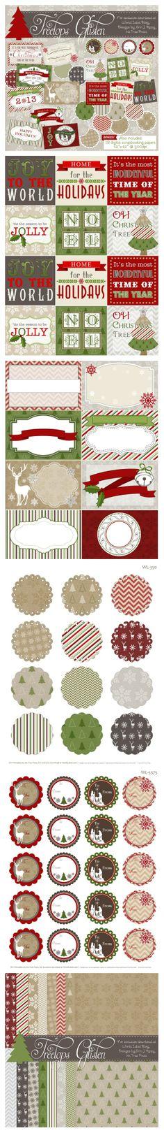 j'aime beaucoup les étiquettes, et, en particulier, celles proposées régulièrement par WorldLabel - et des créatrices de talent... cette fois, en plus de ces superbes étiquettes, le set comprend également un pack de 18 papiers : non seulement vos cadeaux seront joliment emballés, mais vous pourrez aussi créer pages de scrap, cartes et décors de Noël grâce à cet ensemble !... un incontournable pour les fêtes de fin d'année !