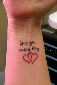 """My husband always said that he loved me everyday from the moment we met. I found a stack of old love letters after he died and all of them were signed """"love you everyday"""". How could I NOT get this as the perfect memorial tattoo? A constant reminder of his love in his own handwriting."""