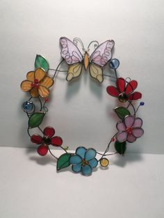 Butterfly and Flower Stained Glass Wreath by AandMVintageMarket, $25.00