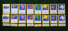 Continents & Mapping: Geography Roundup I - continent cards from Montessori Soul