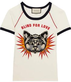 Gucci - Appliquéd Printed Cotton-jersey T-shirt - White - medium Printed Tees, Printed Cotton, Cotton Tee, Gucci Shirts, Gucci Tee, Gucci Gucci, Animal Print T Shirts, Shirt Print, Off White Jacket