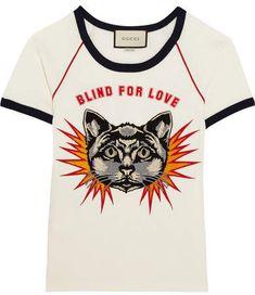 Gucci - Appliquéd Printed Cotton-jersey T-shirt - White - medium Gucci Tee, Gucci Shirts, Gucci Gucci, Printed Tees, Printed Cotton, Cotton Tee, Animal Print T Shirts, Off White Jacket, Cat Applique