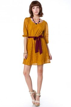 Knotted Lace Cinch Dress in Mustard