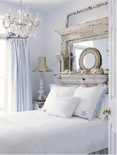 Love the mantel for a headboard!