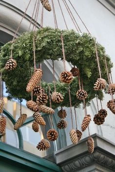 If you have a room with a high ceiling, this is a creative way to add a festive touch