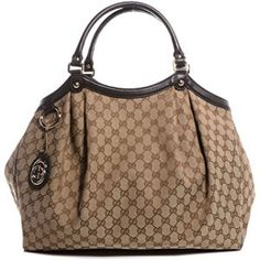 Gucci 364840 Sukey Handbag Large Brown Original GG Monogram Canvas Leather Guccissima Purse Bag - Measurements (large size) 17 inches length x 6 inches wide x 13 inches height, strap drop 8 inches - Original 'GG' monogram logo canvas wi. Hobo Purses, Hobo Handbags, Gucci Handbags, Leather Handbags, Brown Handbags, Designer Handbags, Medium Tote, Vintage Gucci, Canvas Leather