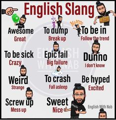 Learn English 498632989993064731 - Language is always changing, and new words are often added. A lot of the time, these words are slang. Slang is informal or casual language… Source by murielvautier English Idioms, English Phrases, Learn English Words, English Lessons, Slang English, Teaching English Grammar, English Writing Skills, English Language Learning, English Collocations