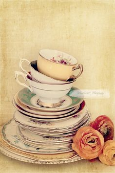 Tea Cup Stack and Ranunculus