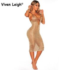 ffac4882d1 Knitted Cross Criss Lace Up Plunge Midi Dress Sexy Women Sleeveless Deep V  Hollow Out Clubwear Party Dress. Gold Beach DressesElegant Summer ...