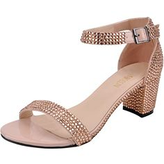 420291d64609 Chunky Heels Women Champagne Open Toe Sparkle Sexy Rhinestone Shoes by  SHOELIN   Be sure to