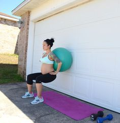 Prenatal squats during pregnancy using a stability ball. Very easy on the joints!