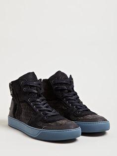 Lanvin Mens Mid High Basket Sneakers