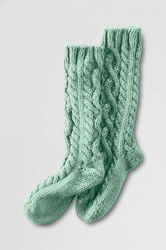 Lands End-Women's Slipper Socks - Eggshell - pretiffy Cable Knit Socks, Knitting Socks, Hand Knitting, Knitted Slippers, Slipper Socks, Winter Socks, Winter Wear, Winter Time, Sweet Style