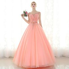 Formal+Evening+Dress+Ball+Gown+Scoop+Floor-length+Tulle+with+Beading+–+USD+$+189.99