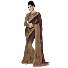 Brown and Beige Georgette Party Wear #Saree- $47.10