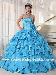 Rüschen Kleid Abendkleid Ballkleid in Hell Blau