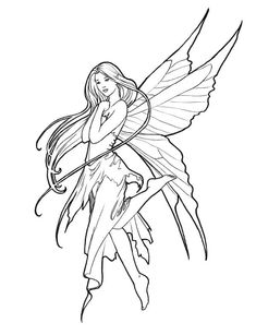 Fairy Coloring Pages, Adult Coloring Book Pages, Free Coloring Pages, Coloring Books, Printable Coloring, Coloring Sheets, Fairy Drawings, Art Drawings Sketches, Cute Drawings