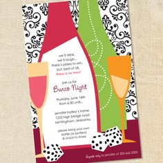 Ladies Bunco Casino Night Invitations for Casino Nights, Bachelorette Parties & Fundraising by Sweet Wishes Stationery
