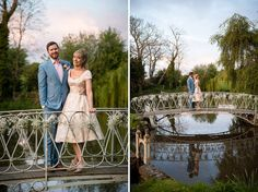 Bride and groom on ornamental bridge enjoying the beautiful grounds at Preston Court in Kent - © Fiona Kelly wedding photographer