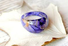 eco resin ring-REAL FLOWER RING- Resin jewelry-delfinium blue petals-nature inspired engagement ring-botanical handmade jewelry-Eco Friendly