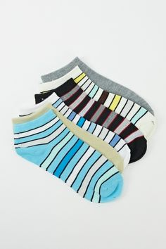 6 Pairs Pack Of Striped Print Socks