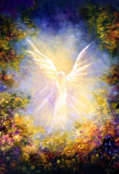 Angel Print featuring the painting Angel Descending by Marina Petro