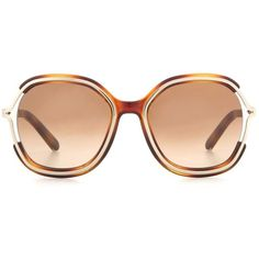 Chloé Jayme Sunglasses featuring polyvore, women's fashion, accessories, eyewear, sunglasses, brown, chloe sunglasses, brown glasses, brown sunglasses, chloe glasses and chloe eyewear