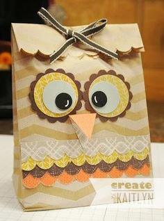 Create with Kaitlyn: Owl Bag made with Tag a Bag Gift Bag...too cute :-D