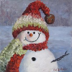 Dancing Brush - Art by Cheri Wollenberg: Christmas Snowman Painting x Christmas Paintings On Canvas, Christmas Canvas, Christmas Snowman, Simple Christmas, Beautiful Christmas, Christmas Wreaths, Christmas Decorations, Christmas Ornaments, Painting Canvas