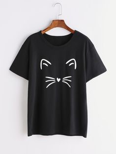 Online shopping for Black Cat Print T-shirt from a great selection of women's fashion clothing & more at MakeMeChic.COM.