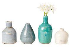Asst of 4 Terracotta Vases, Blue