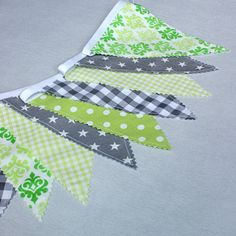Bunting Flags Fabric BannerGrey and Green Garland by PopelineDeco #bunting #flags #party #nursery #garland #babyshower